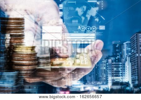 Double Exposure Of City And Coin Stacks,credit Card For Finance And Banking Concept,copy Space,mock