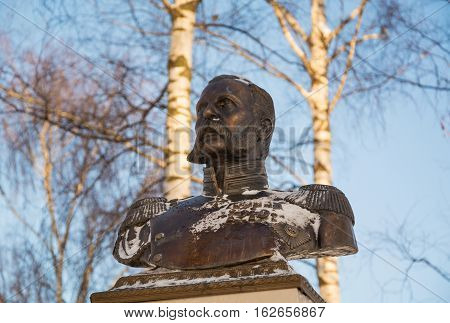 Monument All-Russian Emperor Alexander II was made by famous sculptor Alexander Opekushin. The monument was erected in Vyatskoe in 1911, in honor of 50th anniversary of abolition of serfdom. Russia, Yaroslavl region, village Vyatskoe. December 10, 2016