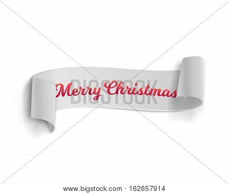 Illustration of Marry Christmas Vector Banner Template Isolated on White Background. Realistic Vector Ribbon Banner Icon. Winter Holiday Season Vector Ribbon