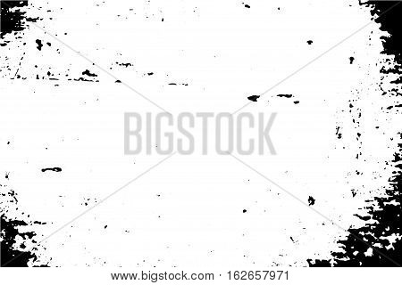 Natural distressed surface trace vector illustration. Vintage texture of old wood wall with paint stains. Black traced texture for vintage effect. Realistic old surface. Monochrome obsolete effect