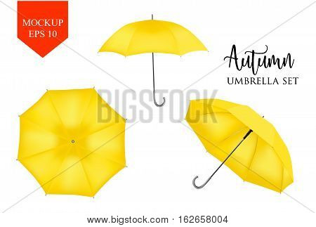 Vector realistic parasol rain umbrella, Sunshade set. yellow colored, isolated .Blank Classic Round slanted Mock up isolated .Side, top View.illustration object for advertising, poster, banner design.