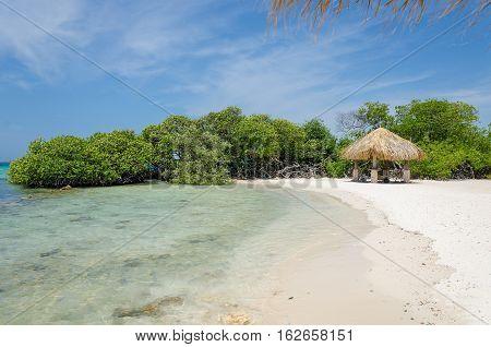 Tent in Aruba beach Island at the Caribbean sea