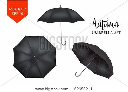 Vector realistic parasol rain umbrella, Sunshade set. black colored, isolated .Blank Classic Round slanted Mock up isolated .Side, top View.illustration object for advertising, poster, banner design.