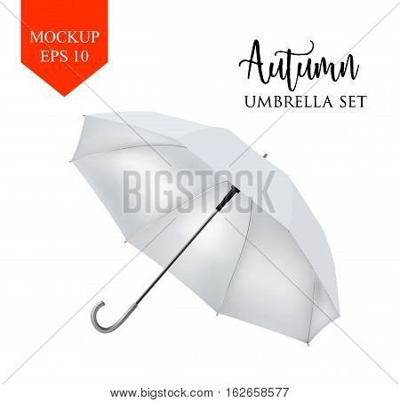 Vector realistic parasol rain umbrella, Sunshade set. white colored, isolated .Blank Classic Round slanted Mock up isolated .Side View, slanted .object for advertising, poster, banner design.