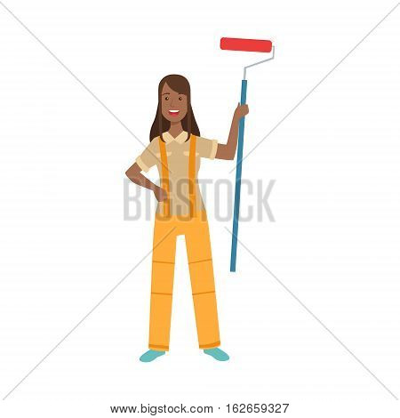 Woman Home Painter With Painting Roll, Part Of Happy People And Their Professions Collection Of Vector Characters. Professional Person And Job Attributes And Outfit Cartoon Illustration.