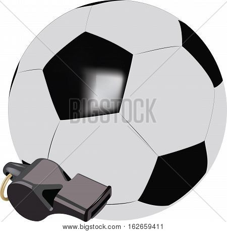 accessories soccer ball and whistle referee whistle and leather ball