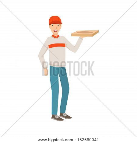 Man Delivery Worker Holding Pizza, Part Of Happy People And Their Professions Collection Of Vector Characters. Professional Person And Job Attributes And Outfit Cartoon Illustration.