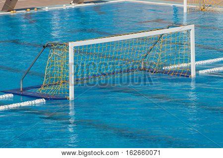 empty water polo goal. Water sport equipment