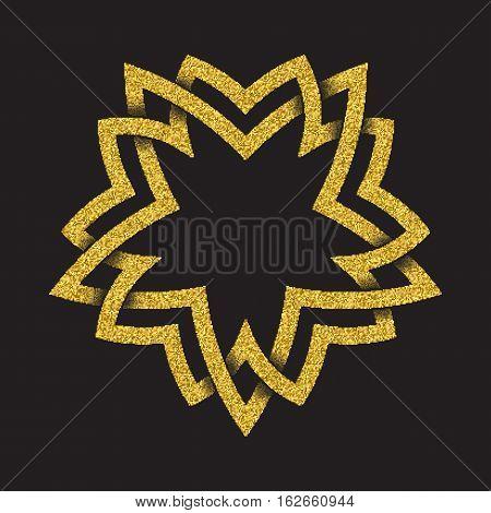 Golden glittering logo symbol in Celtic style on black background. Tribal symbol in pentagonal star form. Gold stamp for jewelry design.