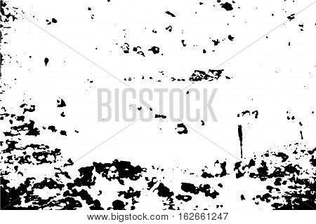 Distressed surface vector illustration. Black and white traced texture for vintage effect. Obsolete painted wall vector trace. Wood surface with paint stains and scratches. Grunge texture of old paint