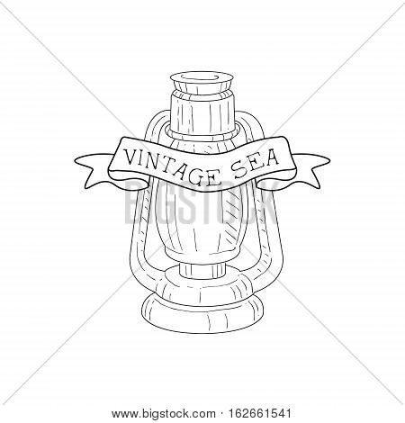 Oil Lamp Vintage Sea And Nautical Symbol Hand Drawn Sketch Label Template. Part Of Marine Emblem Collection Of Artistic Retro Vector Illustrations.