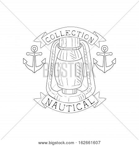 Oil Lamp And Anchors Vintage Sea And Nautical Symbol Hand Drawn Sketch Label Template. Part Of Marine Emblem Collection Of Artistic Retro Vector Illustrations.