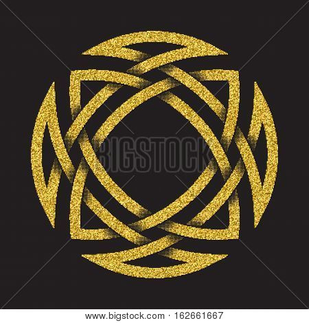 Golden glittering logo symbol in Celtic style on black background. Tribal symbol in circular mandala form. Gold stamp for jewelry design.