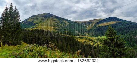 Beautiful Mountain Wide Panorama With Views Of The High Peak