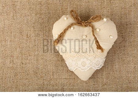 White Beige Toy Heart With Lace And Bow On Canvas