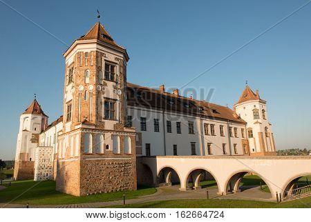 Mir, Belarus - August 28, 2016:  Medieval castle in the Belorussian town of Mir against the blue sky. Mir Castle Complex