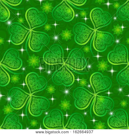 Seamless Floral Tile Pattern, Green Symbolic Clover Plants, Flowers and Stars. Eps10, Contains Transparencies. Vector