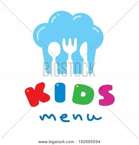 Kids Menu logo with illustration of funny children spoon, fork and knife, in the shape of chefs hat
