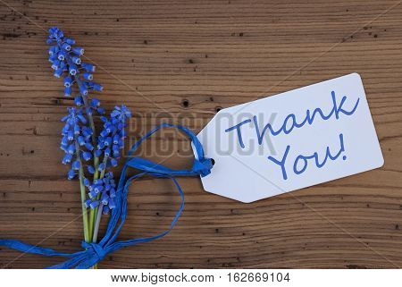 Label With English Text Welcome. Blue Spring Grape Hyacinth With Ribbon. Aged, Rustic Wodden Background. Greeting Card For Spring Season