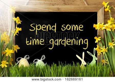 Blackboard With English Text Spend Some Time Gardening. Sunny Spring Flowers Nacissus Or Daffodil With Grass, Easter Egg And Bunny. Rustic Aged Wooden Background.
