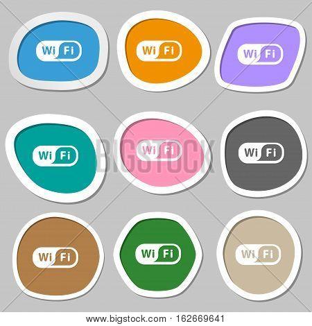 Wireless Network Icon Symbols. Multicolored Paper Stickers. Vector