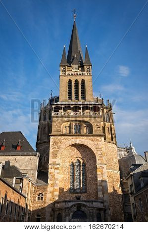 Tower of Aachen Cathedral seen from the west, Germany
