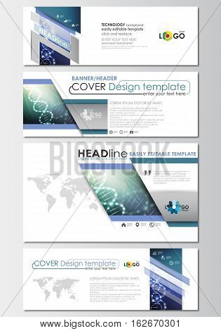 Social media and email headers set, modern banners. Business templates. Cover design template, easy editable, abstract flat layout in popular sizes. DNA molecule structure, science background. Scientific research, medical technology.