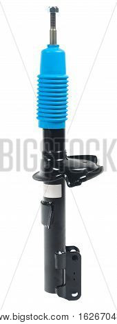 Black shock absorber with blue boot isolated on white background