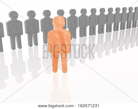 Orange and grey mans on white reflective background 3D illustration.