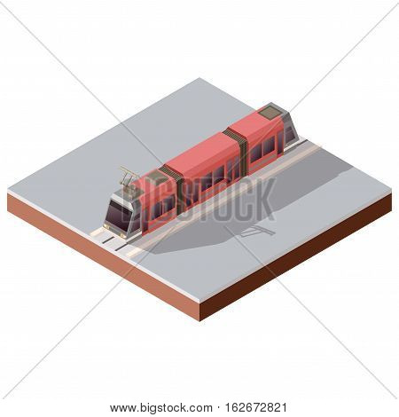 Vector image of the Isometric light train on the rails