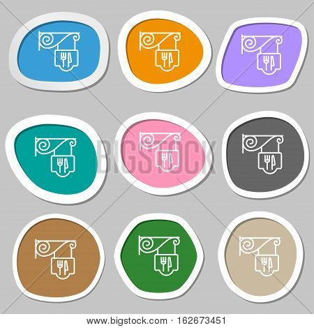 Restaurant Icon Symbols. Multicolored Paper Stickers. Vector