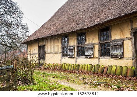 Old drentse farmhouse in the Netherlands Open Air Museum near Arnhem