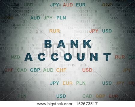 Money concept: Painted blue text Bank Account on Digital Data Paper background with Currency
