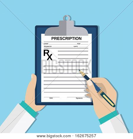 prescription. doctor hands with clipboard and pen, Rx form. Healthcare, hospital and medical diagnostics concept. vector illustration in flat style