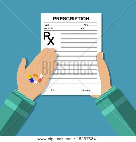 hands holds a prescription rx form and pills. taking pills, Healthcare, hospital and medical diagnostics. vector illustration in flat style