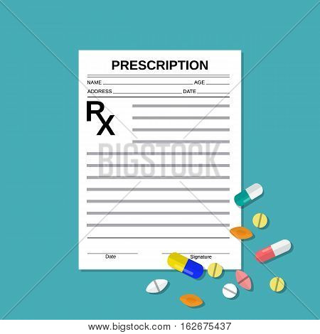 prescription rx form and pills. Healthcare, hospital and medical diagnostics concept. vector illustration in flat style