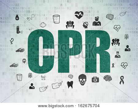 Health concept: Painted green text CPR on Digital Data Paper background with  Hand Drawn Medicine Icons