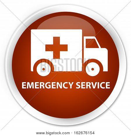 Emergency Service Premium Brown Round Button