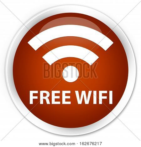 Free Wifi Premium Brown Round Button