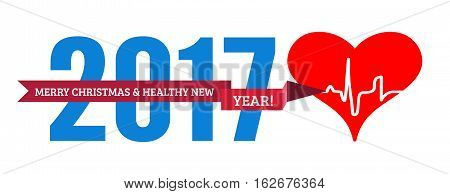 Congratulations to the healthy new year with a heart and cardiogram. Vector illustration on white