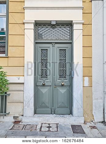 Athens Greece elegant house olive green painted door
