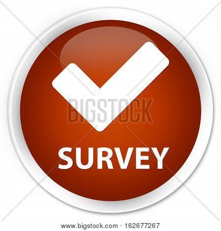 Survey (validate Icon) Premium Brown Round Button