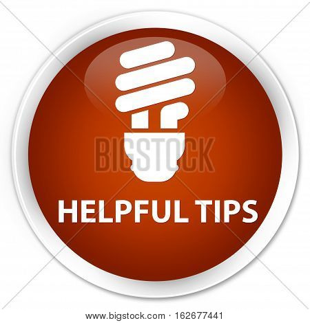 Helpful Tips (bulb Icon) Premium Brown Round Button