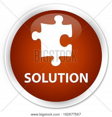 Solution (puzzle Icon) Premium Brown Round Button