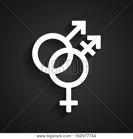Trans gender white symbol on black background
