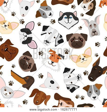Cute puppy and dog mixed breed seamless pattern. Background with breed dog, vector illustration