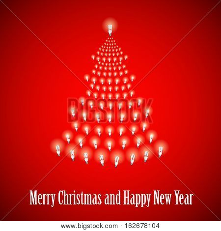 Shining New Year tree made of bulbs on red luminous background.Luminous bulbs in shape of xmas firtree.Happy NewYear wish and Merry Christmas wish postcard, saving energy concept.