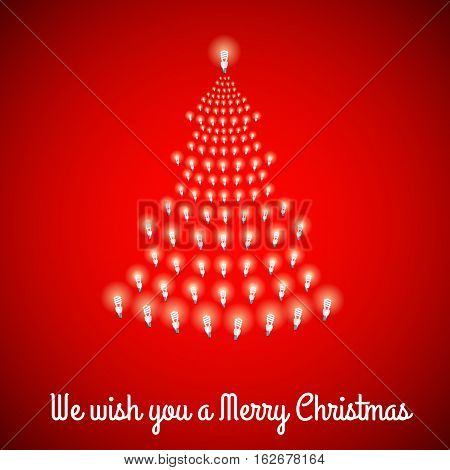 Shining Christmas tree made of bulbs on red luminous background.Luminous bulbs in shape of xmas firtree.Merry Christmas wish postcard, saving energy concept.