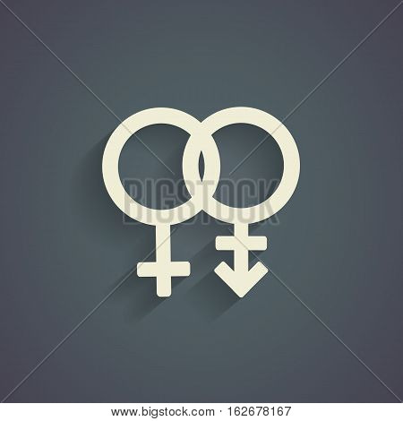 Trans gender  symbol on gray background