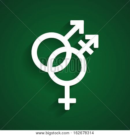 Trans gender white symbol on the green background